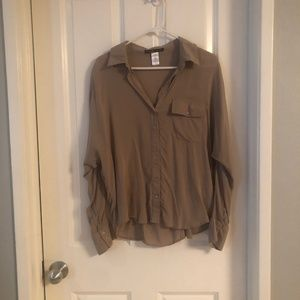 Tops - Beige Blouse Button Down